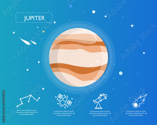 Fototapeta The Jupiter infographic in universe concept.