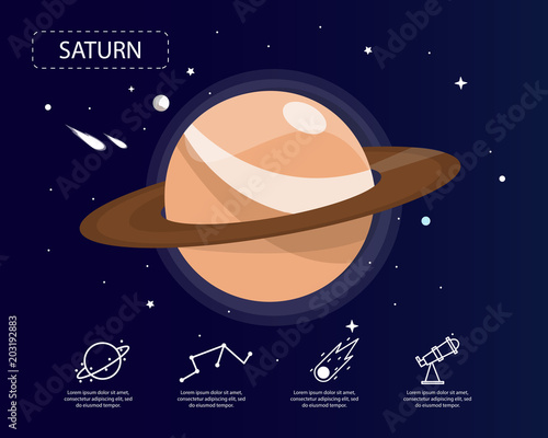 Fototapeta The saturn infographic in universe concept.