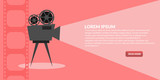 Retro cinema icon with text place banner  eps 10 vector - 203202021