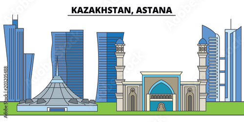 Kazakhstan, Astana. City skyline, architecture, buildings, streets, silhouette, landscape, panorama, landmarks, icons. Editable strokes. Flat design line vector illustration concept - 203205488
