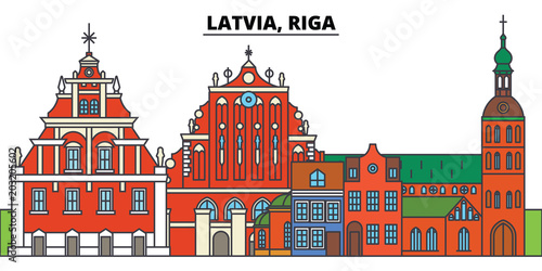 Latvia, Riga. City skyline, architecture, buildings, streets, silhouette, landscape, panorama, landmarks, icons. Editable strokes. Flat design line vector illustration concept - 203205602