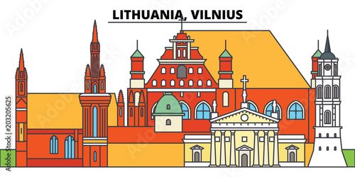 Lithuania, Vilnius. City skyline, architecture, buildings, streets, silhouette, landscape, panorama, landmarks, icons. Editable strokes. Flat design line vector illustration concept - 203205625