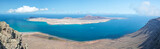 Panorama of La Graciosa island, aerial view from Mirador del Rio in Lanzarote, Canary islands, Spain - 203208250