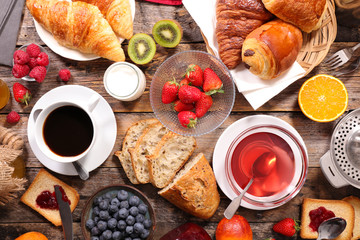 continental breakfast with coffee, tea and croissant