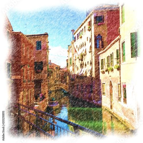 Fototapeta View of beautiful canal in Venice. Colored pencil drawing artwork with white artistic frame. Sketch isolated fine art. Creative print for canvas or textile. Wallpaper, poster or postcard design.