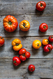 variety of rustic and beefsteak tomatoes for organic mediterranean vegetables - 203213681