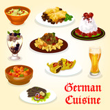 German cuisine dinner with meat dish and dessert - 203214801