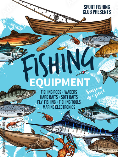 Fishing equipment banner with fish, rod and boat