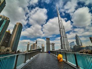 Dubai. Night and day city. Burj Khalifa. City centre. Dubai Marina. City attraction. © Pavel