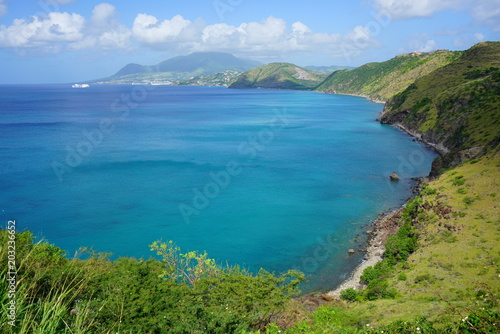 Foto Murales Landscape view of Basseterre Bay in the Caribbean Sea in the Christophe Harbour area in the island of St Kitts, St Kitts and Nevis