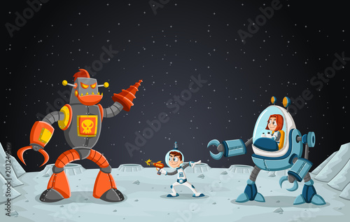 Fototapeta Astronaut cartoon children fighting a robot on the moon .Space background.