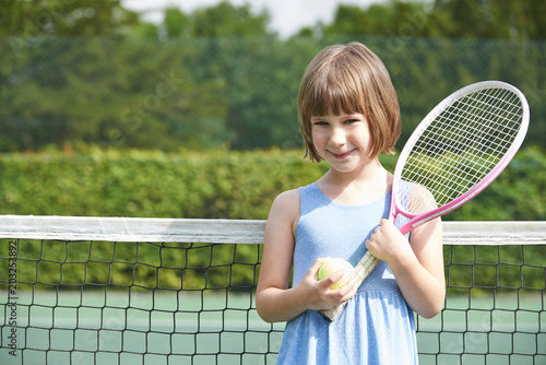 Plexiglas Tennis Portrait Of Young Girl Playing Tennis