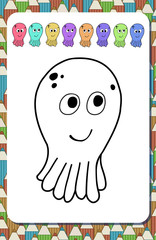 Page for coloring book. Contour cartoon octopus isolated on white background and colored examples.