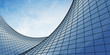 Leinwanddruck Bild - View of the clouds reflected in the curve glass office building. 3d rendering