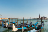 View of gondolas in Venice city. Spring in beautiful city of Venice, Italy.
