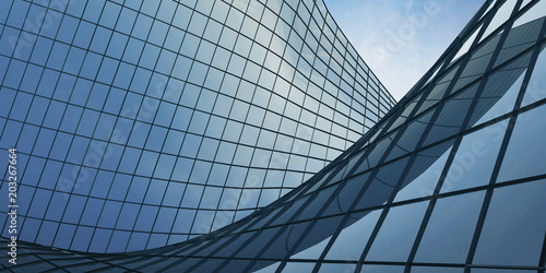 Plakat View of the clouds reflected in the curve glass office building. 3d rendering
