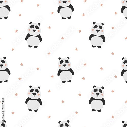 Fototapeta Seamless pattern with cute panda. Panda vector print.