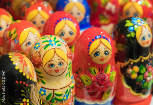 Lot of traditional Nesting dolls or Russian Matryoshka. © dmitrimaruta
