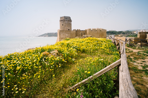 Aragonese fortress at Le Castella. Le Castella is a fraction of Isola di Capo Rizzuto in the province of Crotone, in Calabria Italy