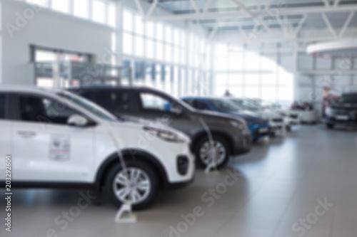 Car sales, market place, blurry image