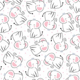 seamless cute princess elephant pattern vector illustration