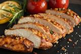 roasted cut chicken fillet breast with lemon tomato rosemary mustard seeds honey - 203294233