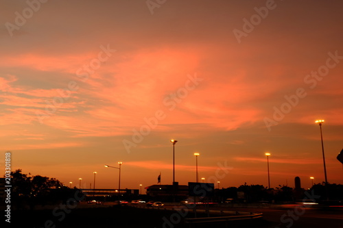 Aluminium Oranje eclat Beautiful sky and golden clouds in sunset use as background image.
