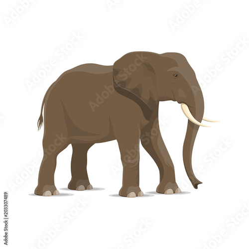 Fridge magnet Elephant animal icon of african savanna mammal