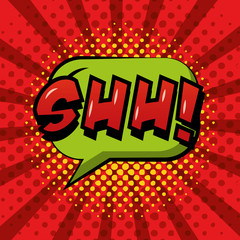 comic pop art speech bubble shh red sunburst background