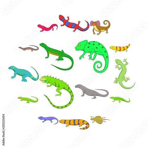 Zestaw ikon jaszczurki. Kreskówki ilustracja 16 jaszczurek wektorowych ikon dla sieci