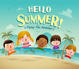 Hello summer holiday! Group of kids jumping on the beach in swimsuit.  - 203326433