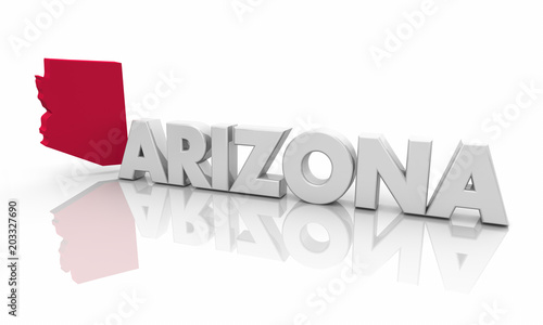 Canvas Arizona Arizona AZ Red State Map Word 3d Illustration