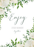 Vector watercolor floral greeting, wedding invite, save the date card design. White garden peony rose flowers, greenery leaves, eucalyptus branches, forest herbs decoration. Elegan, romantic template