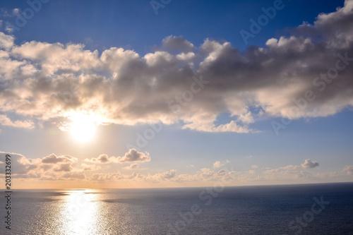 Plexiglas Zee zonsondergang The Sun Setting in the Seasunset, sky, sun, landscape, nature, water, sea, sunrise, morning, light, horizon, clouds, ocean, summer, weather