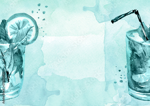Watercolor drawing - cocktail of fruits, circe, lemon slice, lime, mint, ice. Cool drink with ice. Watercolor card, greeting card of blue, abstract spot. Splash, bright streaks of paint.  - 203332870