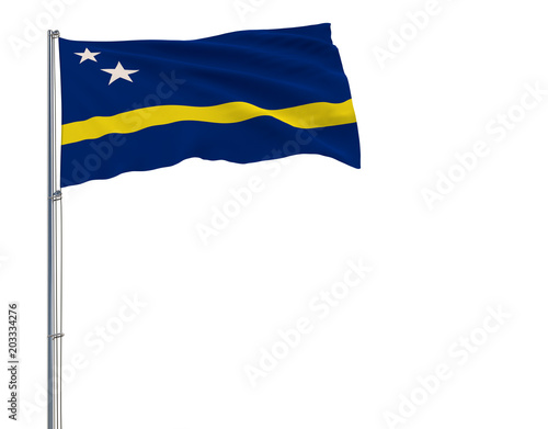 Isolate flag of Curacao on a flagpole fluttering in the wind on a white background, 3d rendering.
