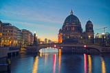 Berlin Cathedral on Spree river at night, Berlin, Germany - 203334870