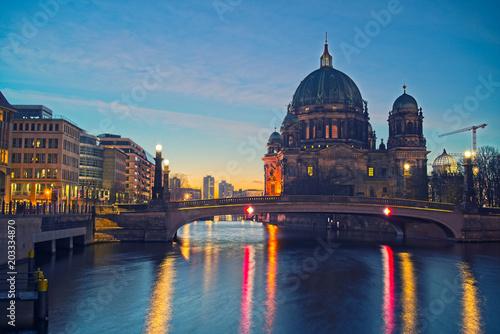 Aluminium Berlijn Berlin Cathedral on Spree river at night, Berlin, Germany