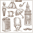 England travel tourism vector sketch symbols