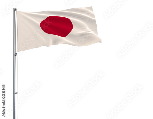 Isolate flag of Japan on a flagpole fluttering in the wind on a white background, 3d rendering.