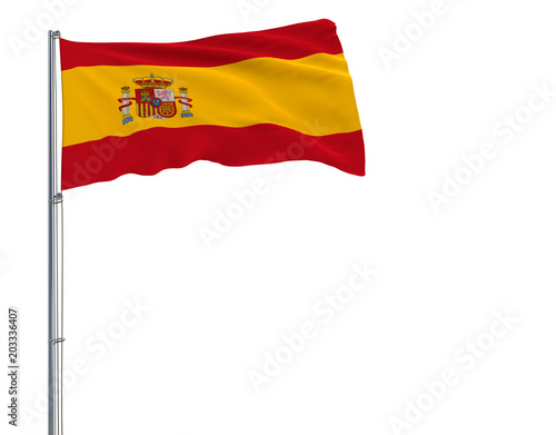 Isolate flag of Spain on a flagpole fluttering in the wind on a white background, 3d rendering.