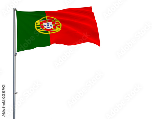 Isolate flag of Portugal on a flagpole fluttering in the wind on a white background, 3d rendering.