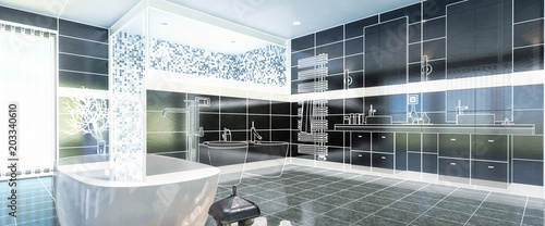 Fototapeta Project of a Luxurious Bathroom (panoramic)