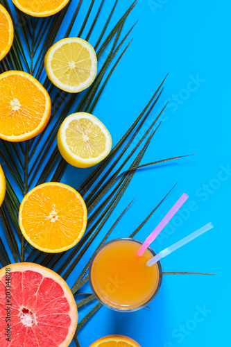 Kolorowe owoce cytrusowe w plasterkach z liści palmowych i soku na niebieskim tle