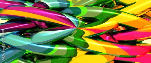 Abstract geometry background. Multicolored abstraction. 3D rendering - 203345078