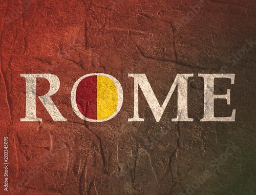 Szablon podróży. Tekst nazwy Romecity z kolorami z herbu