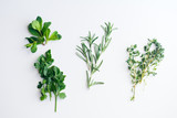 Fresh herbs on white background: rosemary, thyme, mint and parsley in small bunches isolated - 203348652