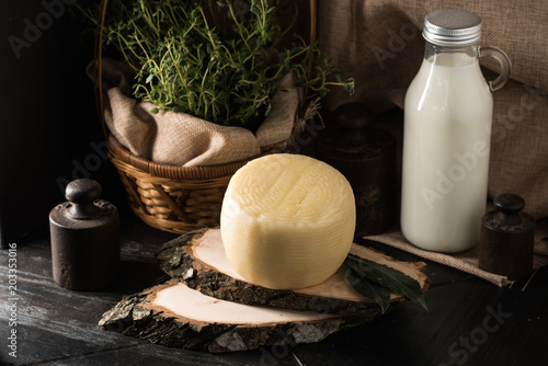 Plexiglas Spa italian cheese on the wooden table