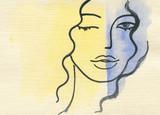 beautiful woman. fashion illustration. watercolor painting - 203355612