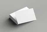 Business card mock up isolated on gray background. Horizontal. 3D illustrating. - 203358607